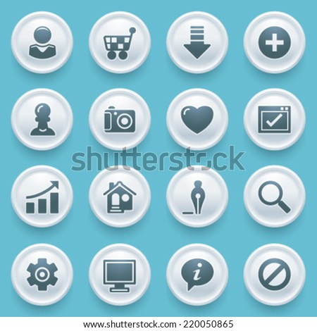 Basic icons with white buttons on blue background. - stock vector