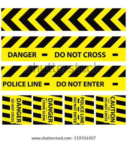 Basic illustration of police security tapes yellow with black a lot kinds of stickers and templates
