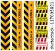 Basic illustration of police security tapes, yellow with black and red, vector illustration - stock vector