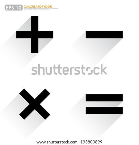 Basic Mathematical symbols on white background - stock vector
