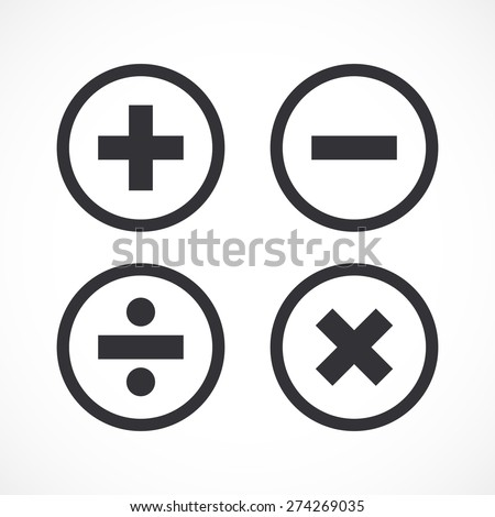 Basic mathematical symbols - plus, minus, multiply & divide - stock vector