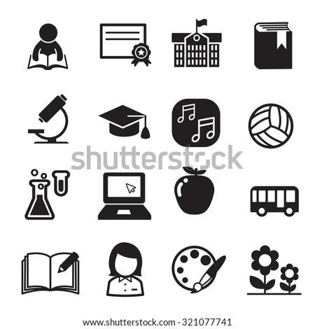 Basic School icon set - stock vector