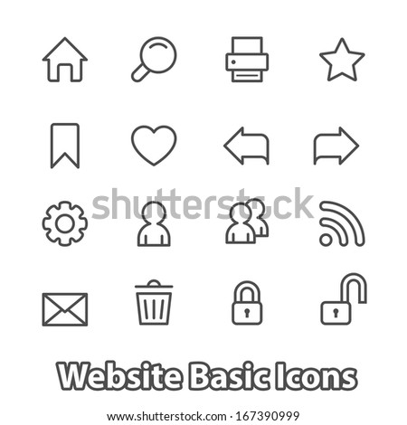 Basic set of website icons for navigation, contour flat isolated vector illustration - stock vector