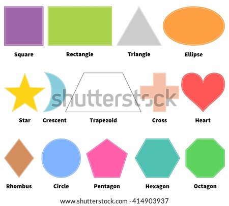 Basic Shapes Kids Learn 2 D Shapes Stock Vector Shutterstock