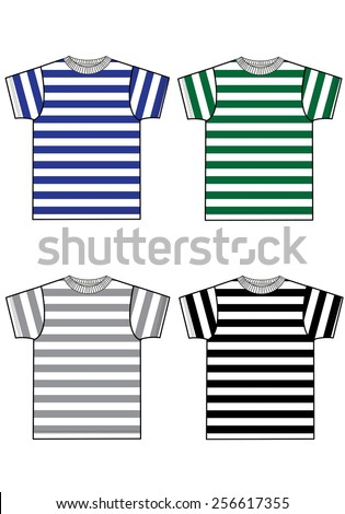 basic striped t-shirt collection - stock vector