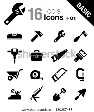 Basic - Tools and Construction icons - stock vector