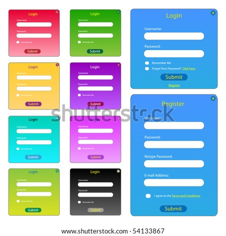 Basic Vector Web Forms - stock vector