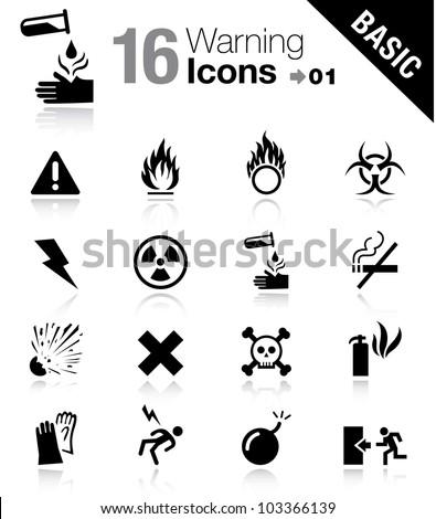 Basic - Warning icons - stock vector