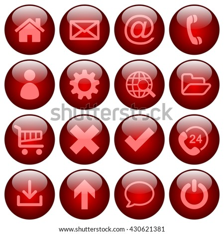 Basic web icon set in round glossy red buttons - stock vector