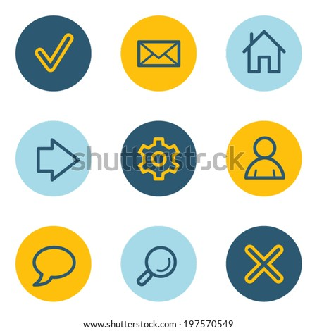 Basic  web icons, blue and yellow circle buttons - stock vector