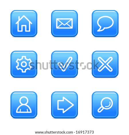 Basic web icons, blue glossy buttons series - stock vector