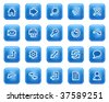 Basic web icons, blue square buttons with dots - stock vector