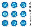 Basic web icons, blue stickers series - stock vector