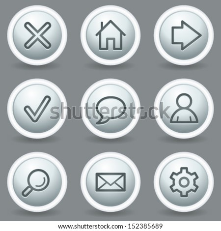 Basic web icons, circle grey matt buttons - stock vector