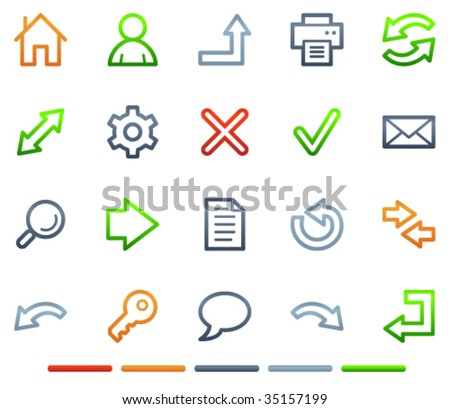 Basic web icons, colour symbols series - stock vector