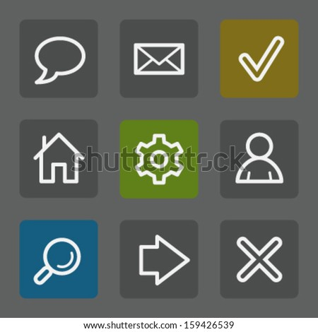 Basic web icons, flat buttons - stock vector