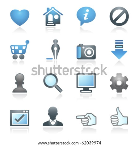 Basic web icons. Gray and blue series. - stock vector