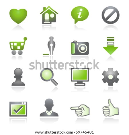 Basic web icons.   Gray and green series. - stock vector