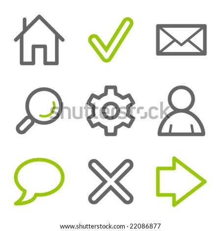Basic web icons, green and gray contour series - stock vector