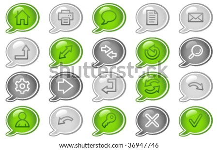 Basic web icons, green and grey speech bubble series - stock vector