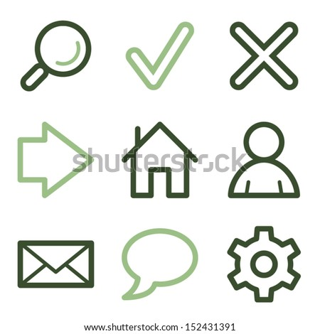 Basic web icons, green line contour series - stock vector