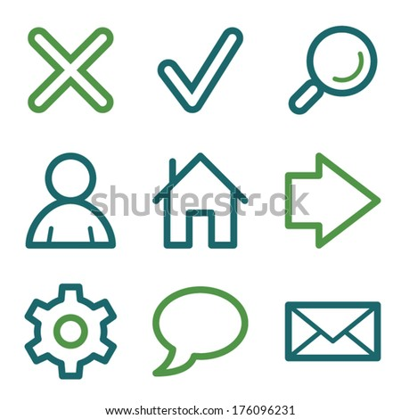 Basic web icons, green line set - stock vector