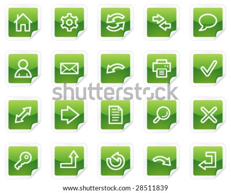 Basic web icons, green sticker series - stock vector