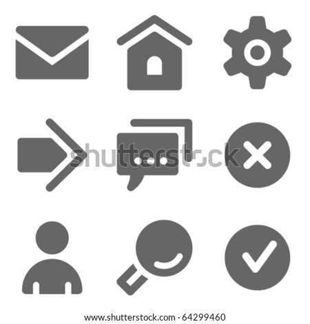 Basic web icons, grey solid series - stock vector