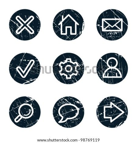 Basic web icons, grunge circle buttons - stock vector