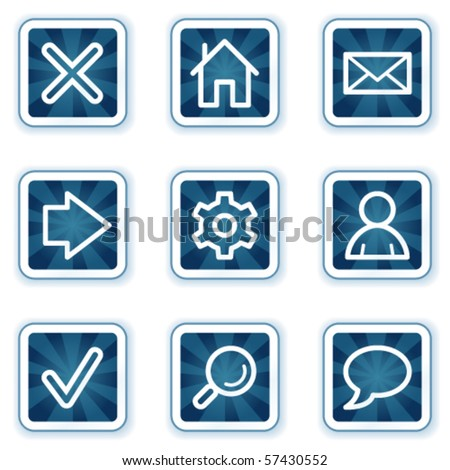 Basic web icons, navy square buttons - stock vector
