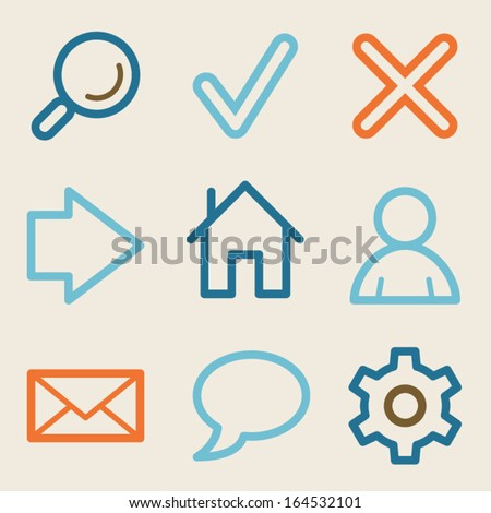 Basic web icons, vintage series - stock vector