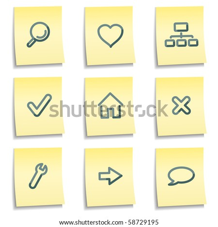Basic web icons, yellow notes series - stock vector
