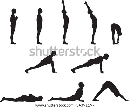 Basic Yoga Poses in Silhouette - stock vector