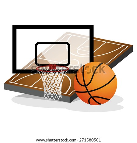 Basket Ball Field and Ball Vector Illustration - stock vector