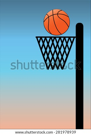 basket ball on blue background with black poll and net - stock vector
