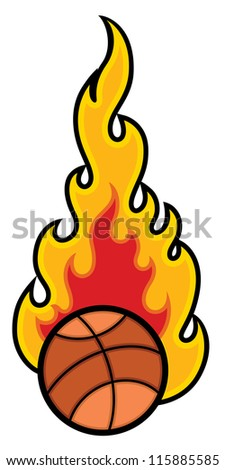 Basket Ball with Flames Vector - stock vector