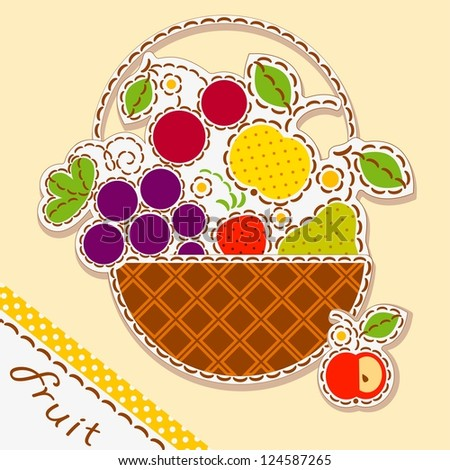 basket fruits and berry. Card decorated with embroidery on the elements of the original background. Vector
