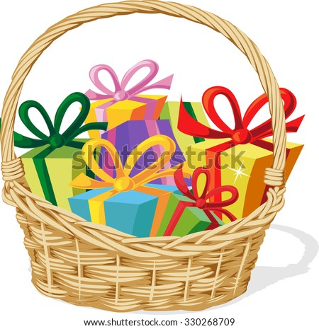 Gift basket stock images royalty free images vectors shutterstock basket full of gift isolated on white vector illustration negle Choice Image