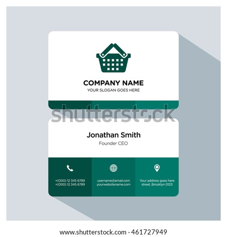 Basket icon. Business card template