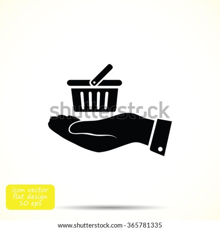 basket icon in hand - stock vector