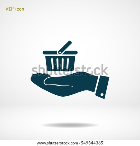 basket icon in hand, vector best flat icon, EPS