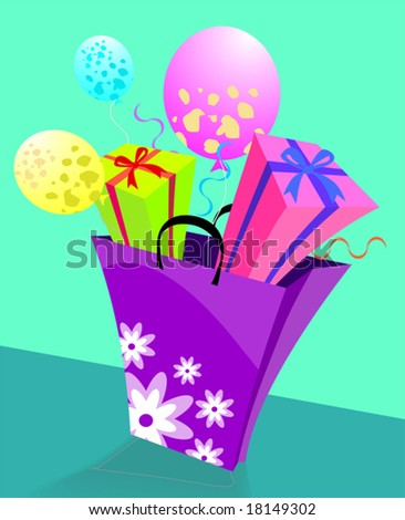 basket of giftboxes - stock vector