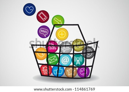 Basket of social media content - stock vector