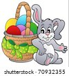 Basket with Easter eggs and bunny - vector illustration. - stock vector