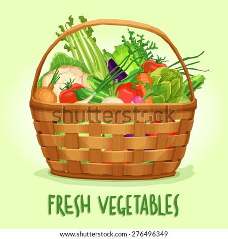 Basket with fresh vegetables, vector illustration