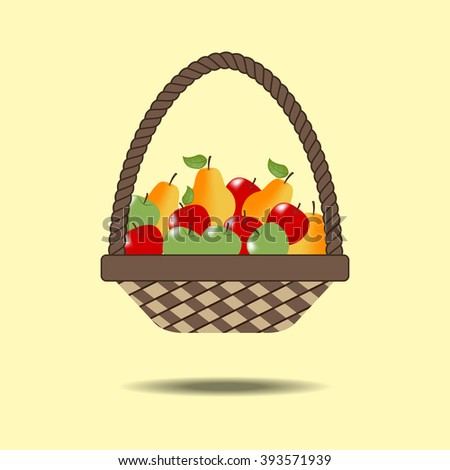 Basket with fruit. Pear. Apple. Vector illustration
