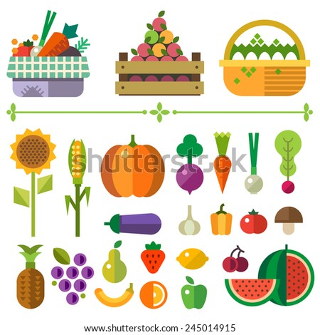 Basket with fruits and vegetables. Farm. Elements and sprites. Carrot, pumpkin, onion, tomato, pepper, pineapple, cherry, banana, grapes, apple, pear. Vector flat  illustrations - stock vector