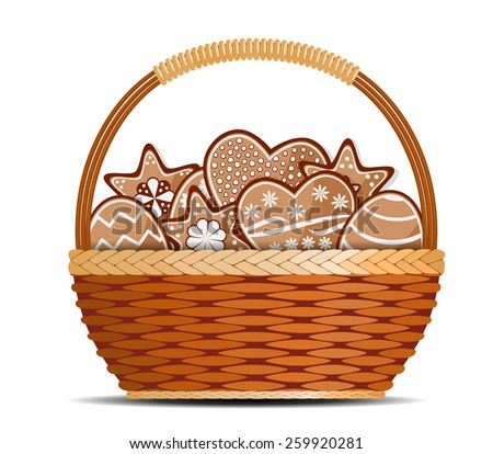 Basket with ginger cakes into white background - stock vector