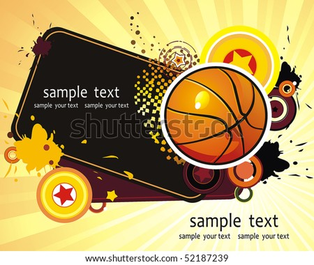 Basketball Advertising poster. Abstract sport background. Vector illustration with Ball for design. - stock vector