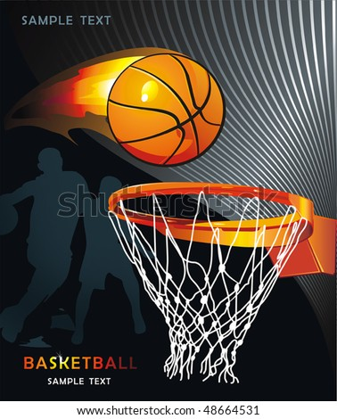 Basketball Advertising poster. Abstract sport background. Vector illustration with Flaming ball for design. - stock vector